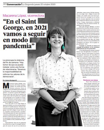 Entrevista a vicerrectora Macarena López publicada en La Segunda